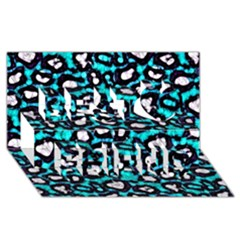 Turquoise Black Cheetah Abstract  Best Friends 3d Greeting Card (8x4)  by OCDesignss