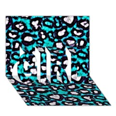 Turquoise Black Cheetah Abstract  Girl 3d Greeting Card (7x5)  by OCDesignss