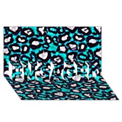 Turquoise Black Cheetah Abstract  Engaged 3d Greeting Card (8x4)  by OCDesignss