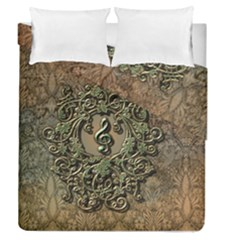 Elegant Clef With Floral Elements On A Background With Damasks Duvet Cover (Full/Queen Size) by FantasyWorld7