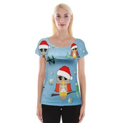 Funny, Cute Christmas Owls With Snowflakes Women s Cap Sleeve Top by FantasyWorld7