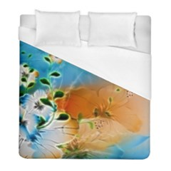 Wonderful Flowers In Colorful And Glowing Lines Duvet Cover Single Side (twin Size) by FantasyWorld7