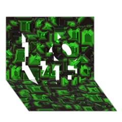 Metalart 23 Green LOVE 3D Greeting Card (7x5)  by MoreColorsinLife