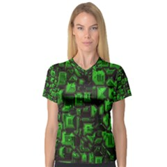 Metalart 23 Green Women s V-Neck Sport Mesh Tee by MoreColorsinLife
