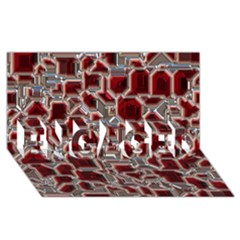 Metalart 23 Red Silver Engaged 3d Greeting Card (8x4)  by MoreColorsinLife
