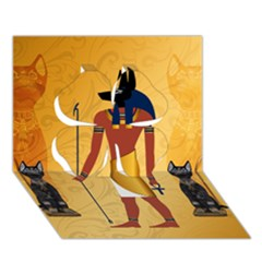 Anubis, Ancient Egyptian God Of The Dead Rituals  Clover 3d Greeting Card (7x5)  by FantasyWorld7