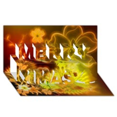Glowing Colorful Flowers Merry Xmas 3d Greeting Card (8x4)  by FantasyWorld7