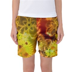 Glowing Colorful Flowers Women s Basketball Shorts by FantasyWorld7