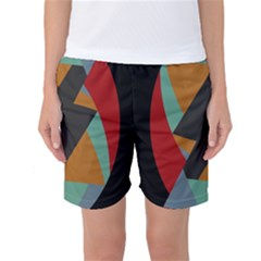 Fractal Design In Red, Soft Turquoise, Camel On Black Women s Basketball Shorts by theunrulyartist