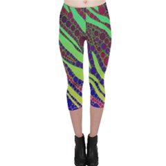 Florescent Zebra Print Pattern  Capri Leggings