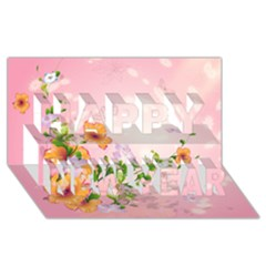 Beautiful Flowers On Soft Pink Background Happy New Year 3d Greeting Card (8x4)  by FantasyWorld7