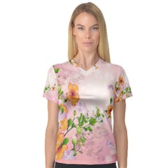 Beautiful Flowers On Soft Pink Background Women s V Neck Sport Mesh Tee