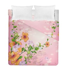 Beautiful Flowers On Soft Pink Background Duvet Cover (Twin Size) by FantasyWorld7