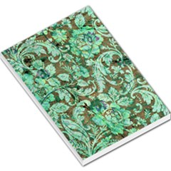 Beautiful Floral Pattern In Green Large Memo Pads