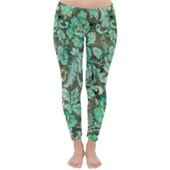 Beautiful Floral Pattern In Green Winter Leggings by FantasyWorld7
