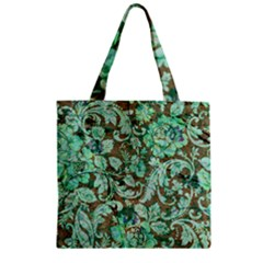 Beautiful Floral Pattern In Green Zipper Grocery Tote Bags by FantasyWorld7