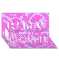 Migraine Pink Happy New Year 3d Greeting Card (8x4)  by MoreColorsinLife