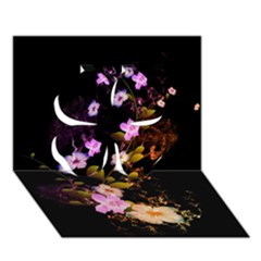 Awesome Flowers With Fire And Flame Clover 3d Greeting Card (7x5)  by FantasyWorld7