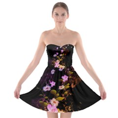 Awesome Flowers With Fire And Flame Strapless Bra Top Dress by FantasyWorld7