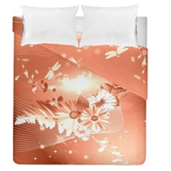 Amazing Flowers With Dragonflies Duvet Cover (Full/Queen Size) by FantasyWorld7