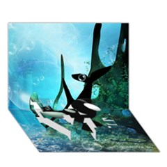 Orca Swimming In A Fantasy World Love Bottom 3d Greeting Card (7x5)  by FantasyWorld7