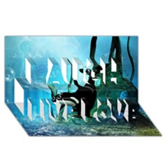 Orca Swimming In A Fantasy World Laugh Live Love 3d Greeting Card (8x4)  by FantasyWorld7