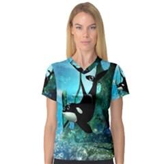 Orca Swimming In A Fantasy World Women s V Neck Sport Mesh Tee