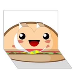 Kawaii Burger Heart 3d Greeting Card (7x5)