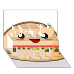 Kawaii Burger Get Well 3d Greeting Card (7x5)  by KawaiiKawaii