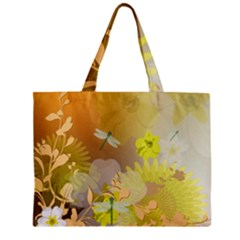 Beautiful Yellow Flowers With Dragonflies Zipper Tiny Tote Bags
