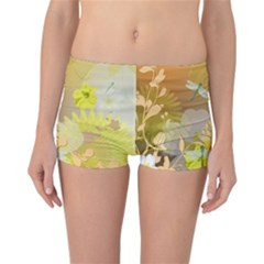 Beautiful Yellow Flowers With Dragonflies Reversible Boyleg Bikini Bottoms by FantasyWorld7