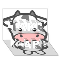 Kawaii Cow TAKE CARE 3D Greeting Card (7x5)  by KawaiiKawaii