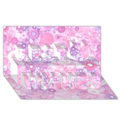 Lovely Allover Ring Shapes Flowers Pink Best Wish 3d Greeting Card (8x4)  by MoreColorsinLife