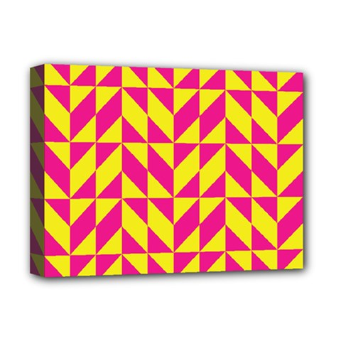 Pink And Yellow Shapes Pattern Deluxe Canvas 16  X 12  (stretched)  by LalyLauraFLM