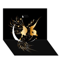 Beautiful Bird In Gold And Black Circle 3d Greeting Card (7x5)  by FantasyWorld7