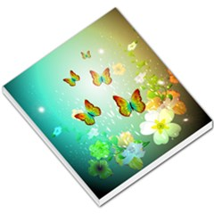 Flowers With Wonderful Butterflies Small Memo Pads by FantasyWorld7