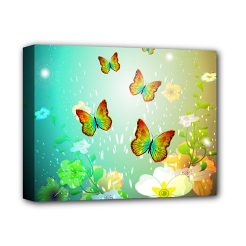 Flowers With Wonderful Butterflies Deluxe Canvas 14  X 11  by FantasyWorld7