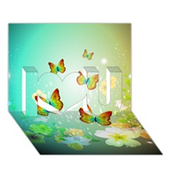 Flowers With Wonderful Butterflies I Love You 3d Greeting Card (7x5)  by FantasyWorld7