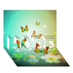 Flowers With Wonderful Butterflies Hope 3d Greeting Card (7x5)  by FantasyWorld7