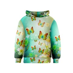 Flowers With Wonderful Butterflies Kid s Pullover Hoodies by FantasyWorld7