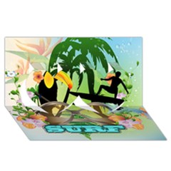 Surfing Twin Hearts 3d Greeting Card (8x4)  by FantasyWorld7