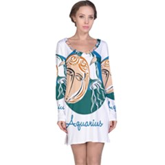 Aquarius Star Sign Long Sleeve Nightdresses by theimagezone