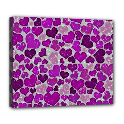 Sparkling Hearts Purple Deluxe Canvas 24  X 20   by MoreColorsinLife