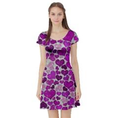 Sparkling Hearts Purple Short Sleeve Skater Dresses by MoreColorsinLife