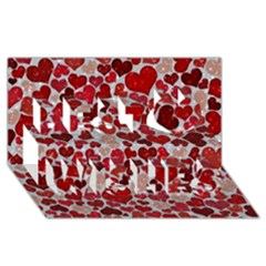 Sparkling Hearts, Red Best Wish 3D Greeting Card (8x4)