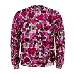 Hearts And Checks, Pink Men s Sweatshirts by MoreColorsinLife