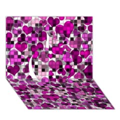 Hearts And Checks, Purple Apple 3d Greeting Card (7x5)  by MoreColorsinLife
