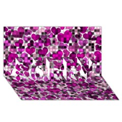 Hearts And Checks, Purple Sorry 3d Greeting Card (8x4)  by MoreColorsinLife