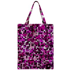 Hearts And Checks, Purple Zipper Classic Tote Bags by MoreColorsinLife