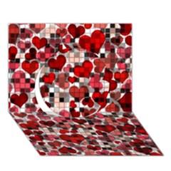 Hearts And Checks, Red Circle 3D Greeting Card (7x5)